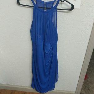 David's Bridal Short Cobalt Blue Bridesmaid Dress